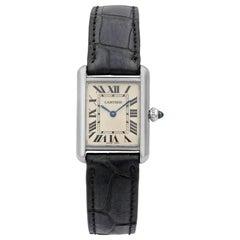 Cartier Tank Louise 18K White Gold Black Leather Quartz Ladies Watch W1541056