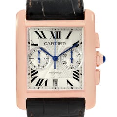 Cartier Tank MC 18 Karat Rose Gold Silver Dial Men's Watch W5330005