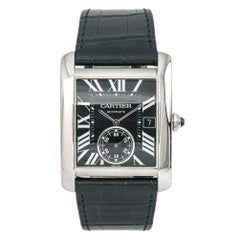 Cartier Tank MC 3589 W5330004 Stainless Black Dial Men's Automatic Watch