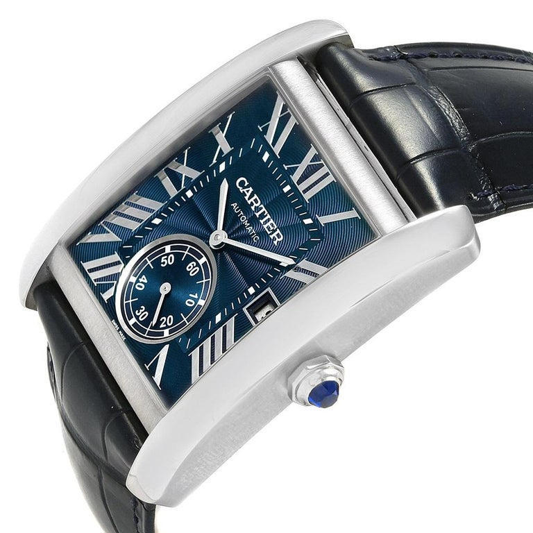 Cartier Tank MC Blue Dial Automatic Men's Watch WSTA0010 Box Papers In Excellent Condition For Sale In Atlanta, GA