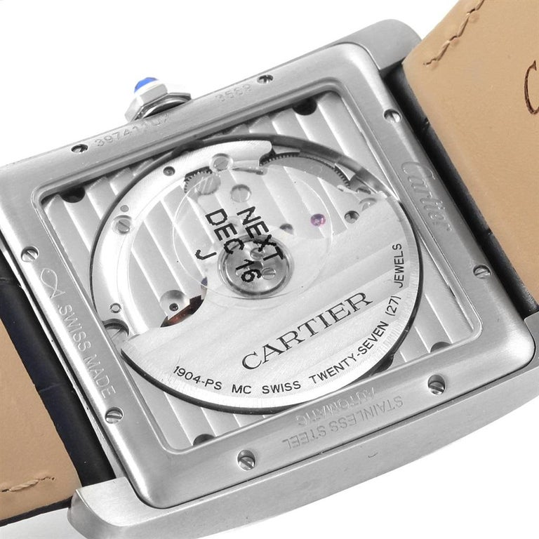 Men's Cartier Tank MC Blue Dial Automatic Men's Watch WSTA0010 Box Papers For Sale