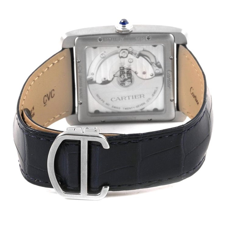 Cartier Tank MC Blue Dial Automatic Men's Watch WSTA0010 Box Papers For Sale 1