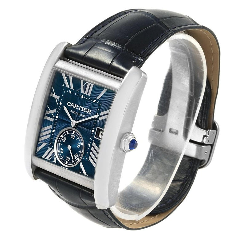 Cartier Tank MC Blue Dial Automatic Men's Watch WSTA0010 Box Papers For Sale 2