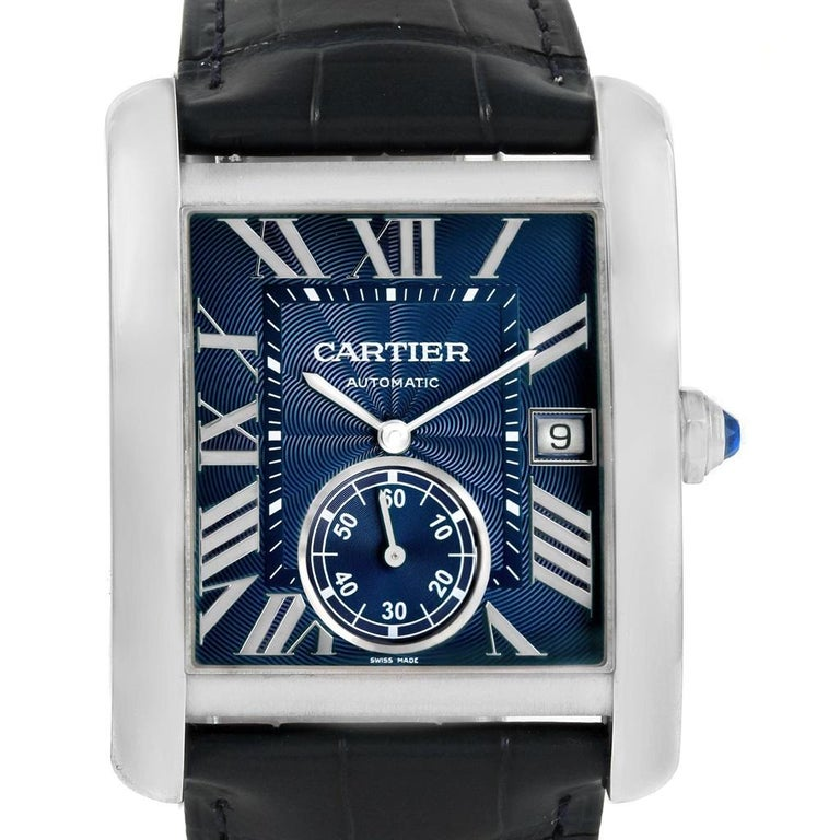 Cartier Tank MC Blue Dial Automatic Men's Watch WSTA0010 Box Papers For Sale 3
