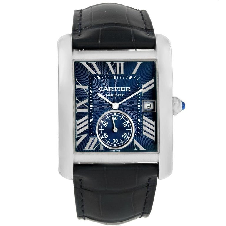 Cartier Tank MC Blue Dial Automatic Men's Watch WSTA0010 Box Papers For Sale 4