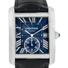 Cartier Tank MC Blue Dial Automatic Men's Watch WSTA0010 Box Papers