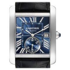 Cartier Tank MC Blue Dial Automatic Steel Men's Watch WSTA0010 Box Papers