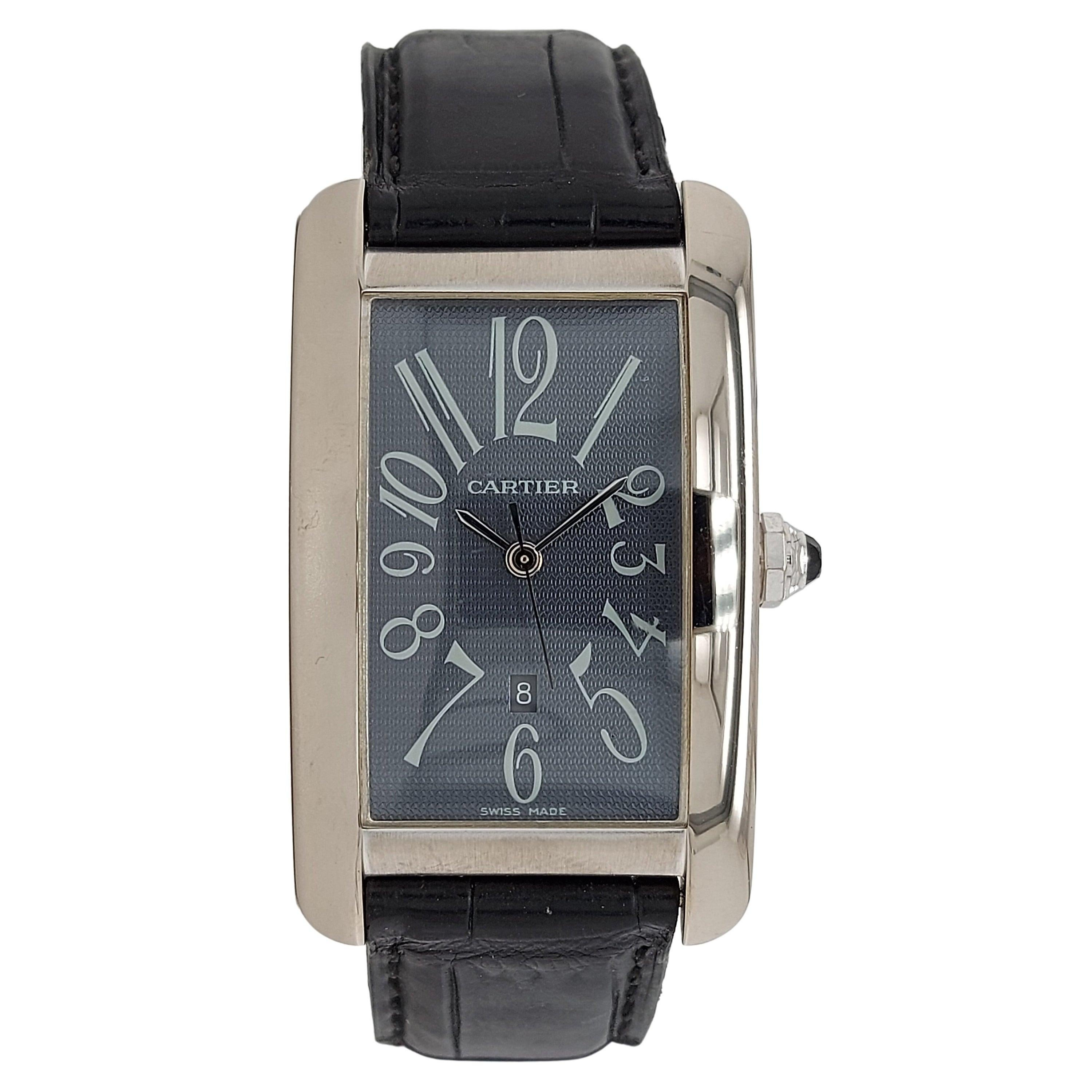 Cartier Tank Mechanical Automatic 1741, 18kt White Gold, Grey Dial