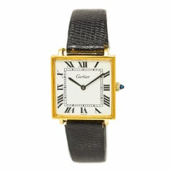Cartier Tank Men's Hand Winding Watch 925 Gold-Plated Leather Strap