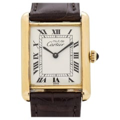 Cartier Tank Must de Men's Sized 18 Karat Yellow Gold Plateed Watch, 1990s
