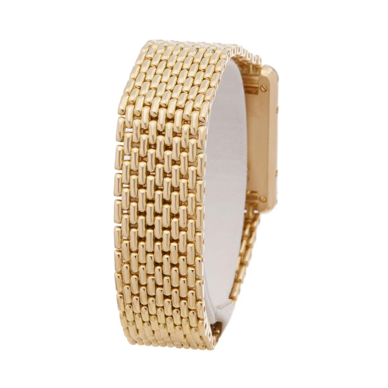 Women's Cartier Tank Paris Diamond 18 Karat Yellow Gold Wristwatch