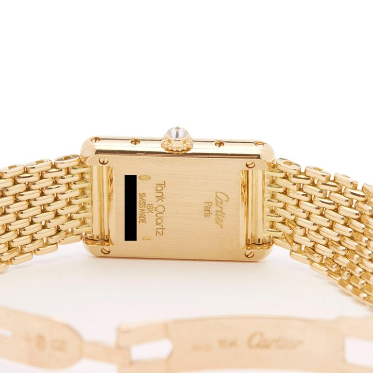 Cartier Tank Paris Diamond 18 Karat Yellow Gold Wristwatch 2