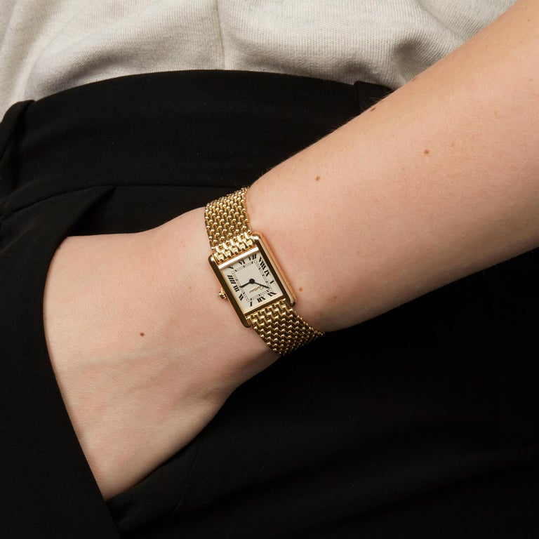Cartier Tank Paris Diamond 18 Karat Yellow Gold Wristwatch 4