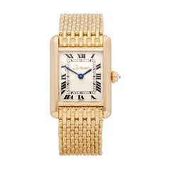Cartier Tank Paris Diamond 18 Karat Yellow Gold Wristwatch
