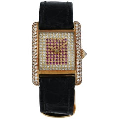 Cartier Tank Paris Diamond Dial Yellow Gold Ladies Watch