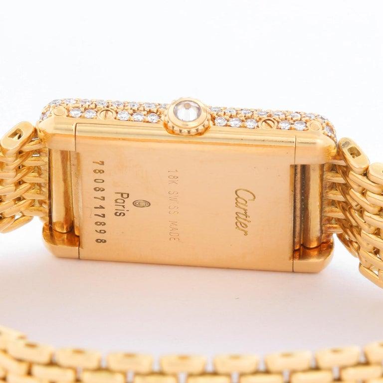 Women's Cartier Tank Pave Diamond Ladies Watch For Sale