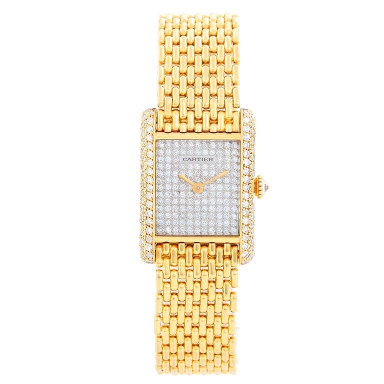 Cartier Tank Pave Diamond Ladies Watch For Sale
