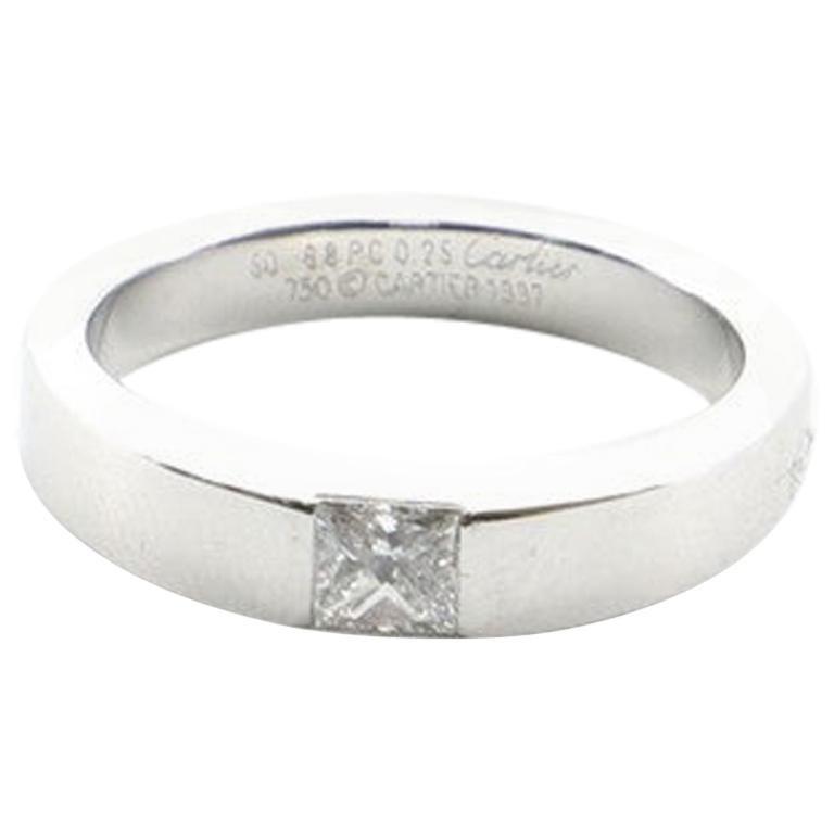 Cartier Tank Ring 18 Karat White Gold with Diamond .25 Carat 5.25 - 50