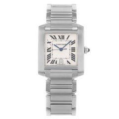 Cartier Tank Silver Roman Guilloche Dial Steel Automatic Unisex Watch W51002Q3