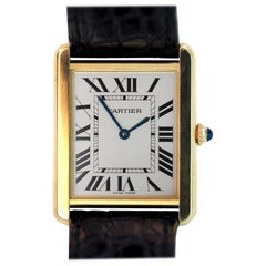 Cartier Tank Solo 18 Karat Gold Quartz Watch Large with Cartier Leather Band