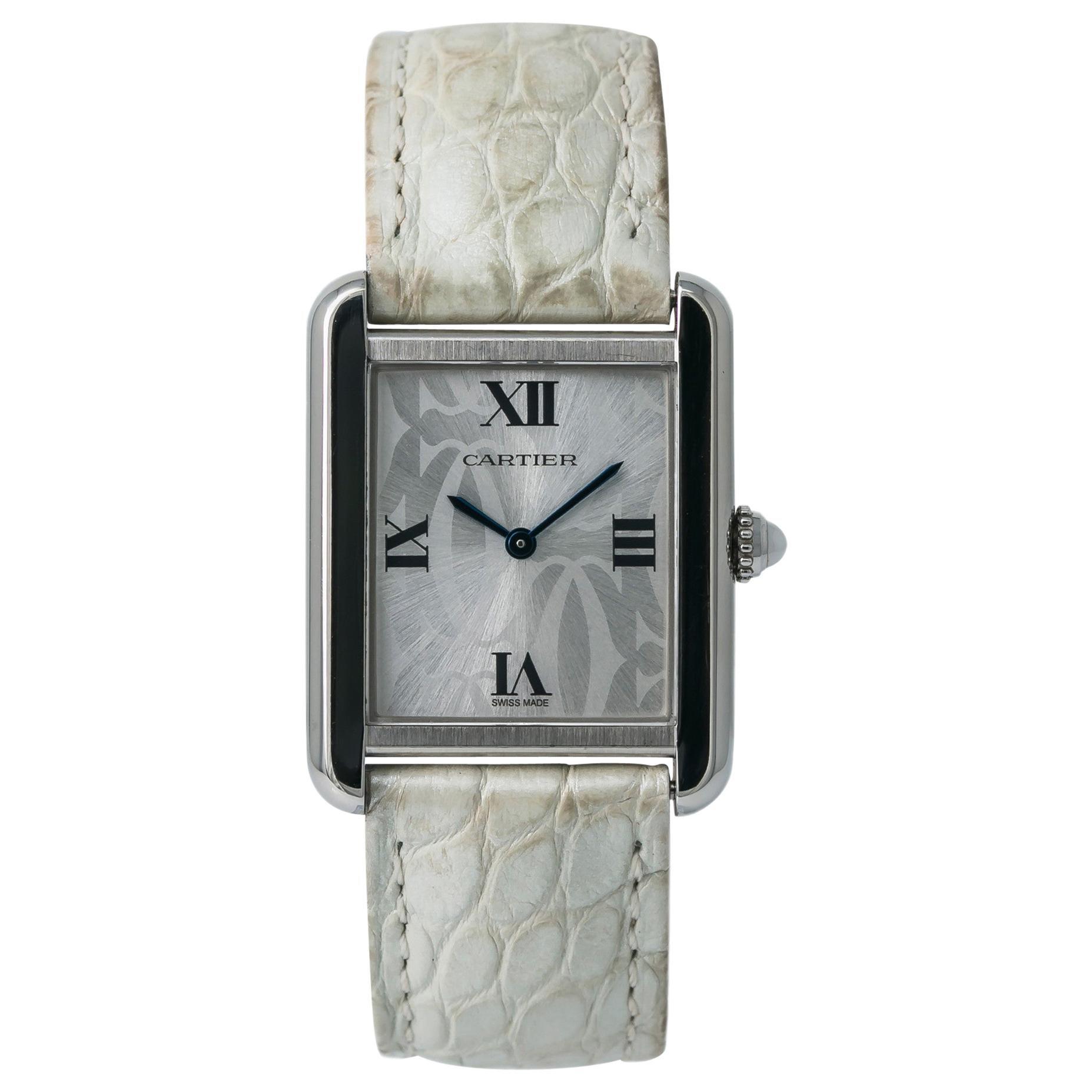 Cartier Tank Solo 2716 Women's Quartz Watch Stainless Steel Silver Dial