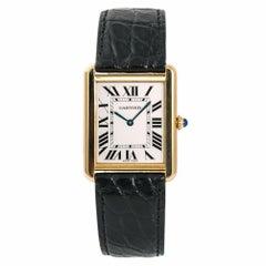 Cartier Tank Solo 2742 W1018855 Men's Quartz Watch Silver Dial 18 Karat Gold