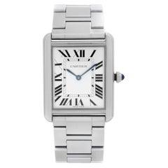Cartier Tank Solo Stainless Steel Silver Dial Unisex Quartz Watch W5200014