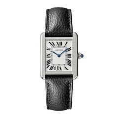Cartier Tank Solo Quartz Movement Steel and Leather Watch WSTA0030