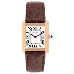 Cartier Tank Solo Rose Gold Steel Brown Dial Ladies Watch W5200024