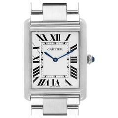 Cartier Tank Solo Silver Dial Steel Men's Watch W5200014 Papers