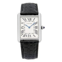 Cartier Tank Solo Silver Roman Dial Stainless Steel Quartz Men's Watch W1018355