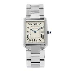 Cartier Tank Solo Silver Roman Dial Steel Quartz Ladies Watch W5200014