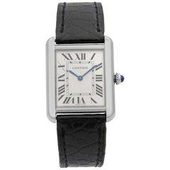 Cartier Tank Solo Silver Roman Rectangle Dial Steel Ladies Quartz Watch W5200005