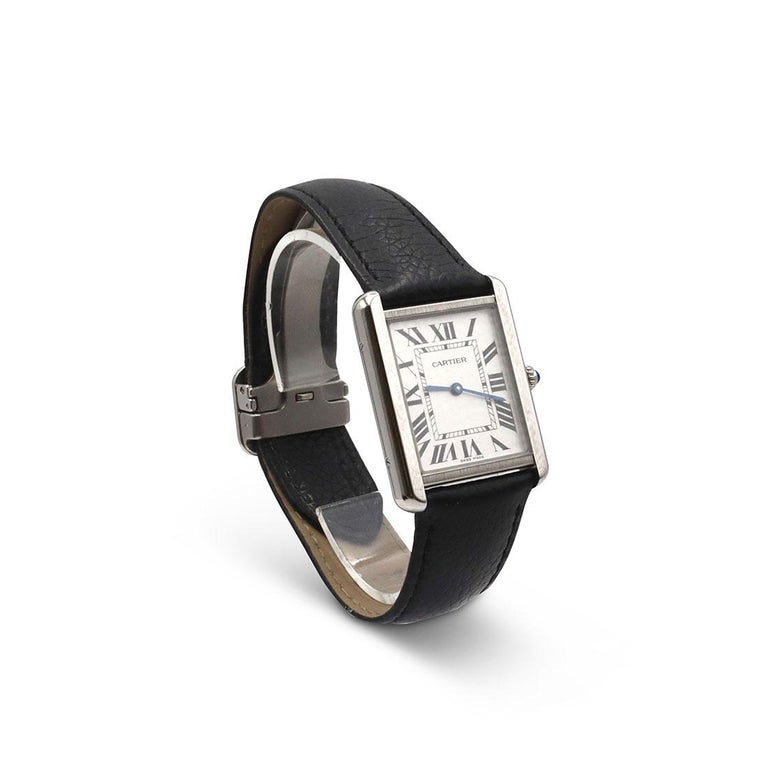 Cartier Tank Solo Stainless Steel Watch, Large Model In Excellent Condition For Sale In New York, NY
