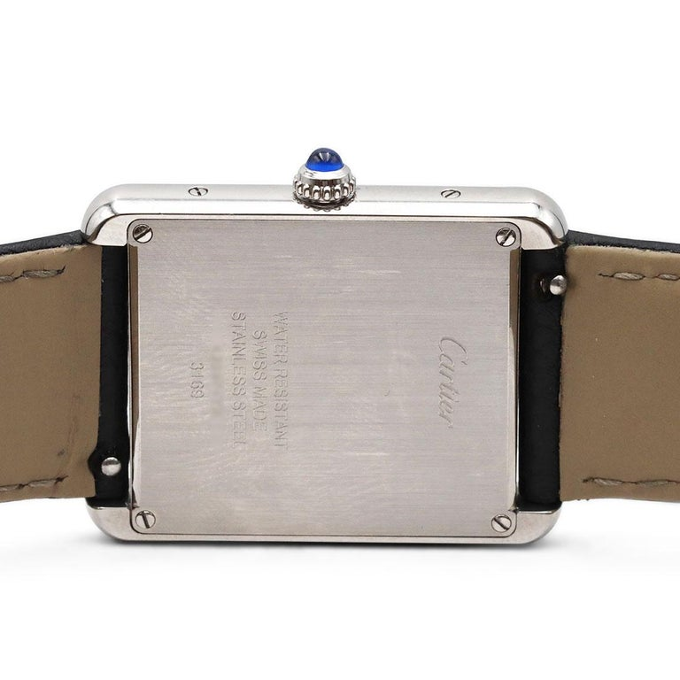 Cartier Tank Solo Stainless Steel Watch, Large Model For Sale 1