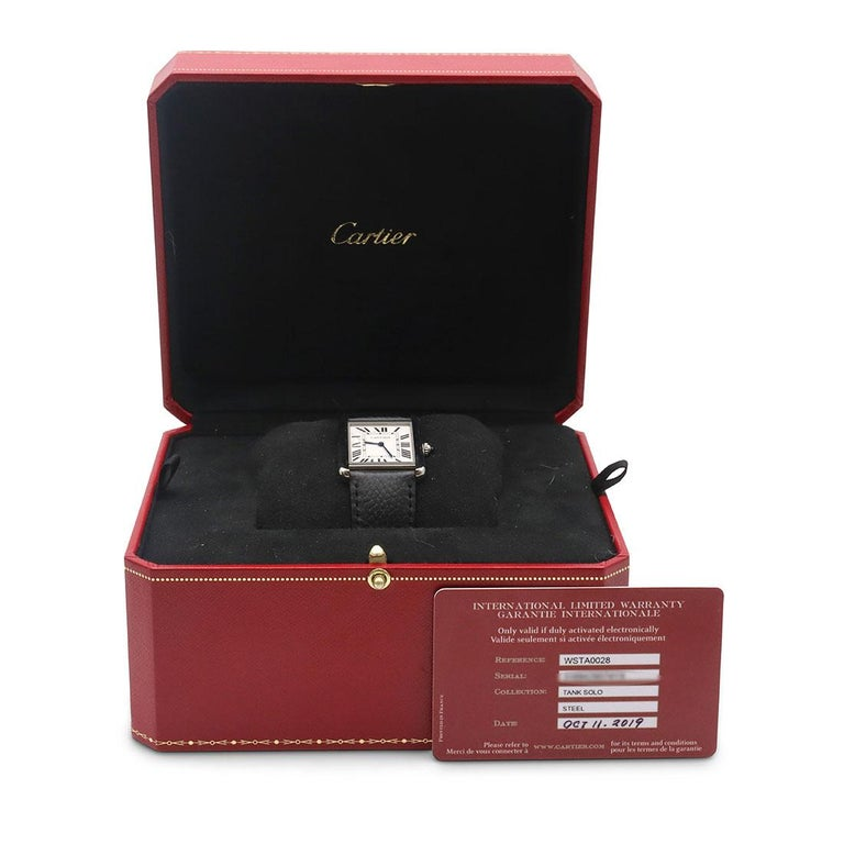 Cartier Tank Solo Stainless Steel Watch, Large Model For Sale 3