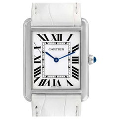 Cartier Tank Solo Steel Silver Dial White Strap Unisex Watch W1018355 Card