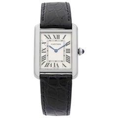 Cartier Tank Solo Steel Silver Roman Rectangle Dial Ladies Quartz Watch W5200005