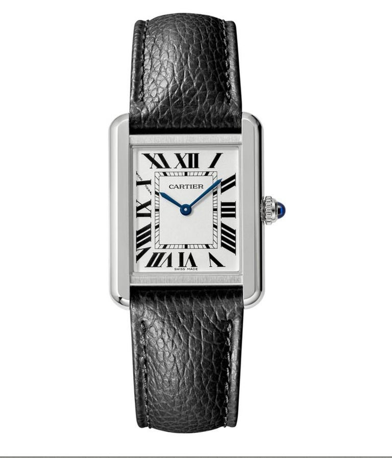 Cartier Tank Solo Watch Small Model Steel Leather In New Condition For Sale In Firenze, IT