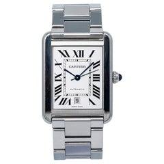 Cartier Tank Solo XL 3515 W5200028 Men's Automatic Watch Silver Dial SS