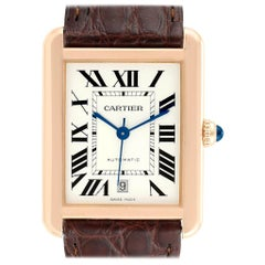 Cartier Tank Solo XL Rose Gold Steel Silver Dial Men's Watch W5200026