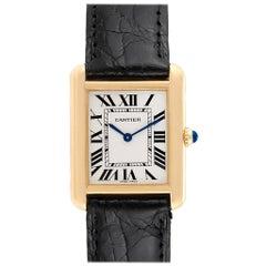 Cartier Tank Solo Yellow Gold Steel Black Strap Ladies Watch W1018755
