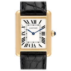 Cartier Tank Solo Yellow Gold Steel Black Strap Ladies Watch W1018755