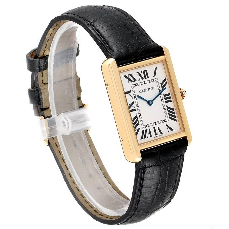 Cartier Tank Solo Yellow Gold Steel Black Strap Men's Watch W1018855 In Excellent Condition For Sale In Atlanta, GA
