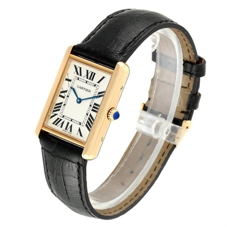 Cartier Tank Solo Yellow Gold Steel Black Strap Men's Watch W1018855 For Sale 1
