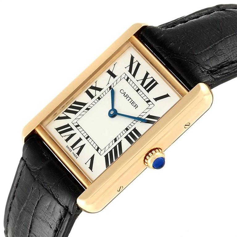Cartier Tank Solo Yellow Gold Steel Black Strap Men's Watch W1018855 For Sale 2