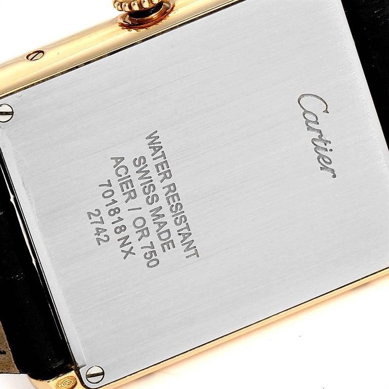 Cartier Tank Solo Yellow Gold Steel Black Strap Men's Watch W1018855 For Sale 3