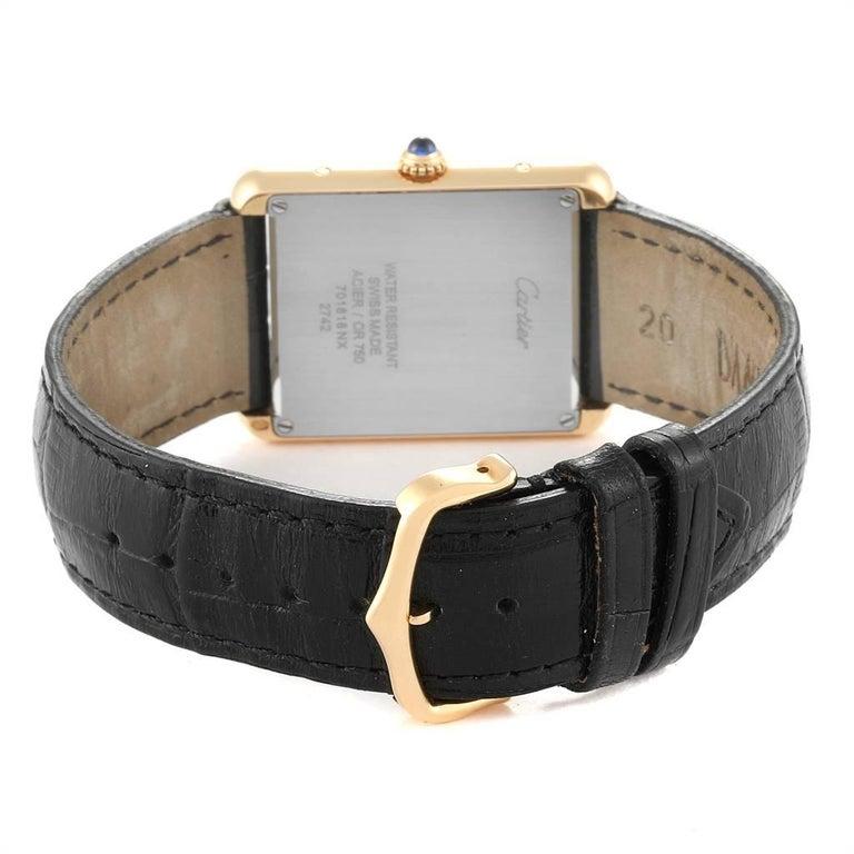 Cartier Tank Solo Yellow Gold Steel Black Strap Men's Watch W1018855 For Sale 4