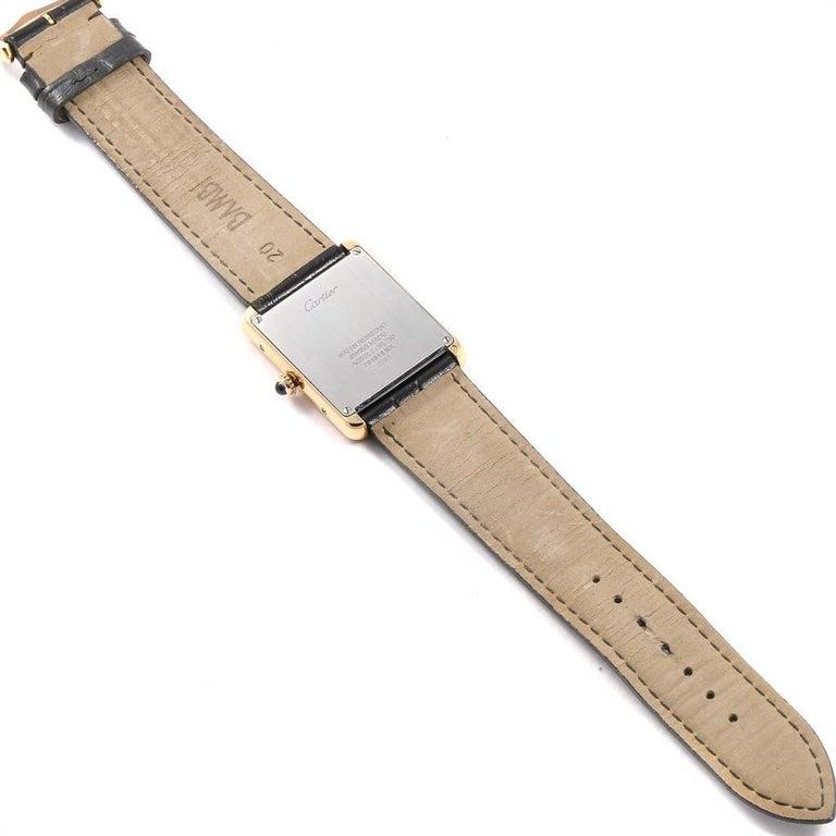 Cartier Tank Solo Yellow Gold Steel Black Strap Men's Watch W1018855 For Sale 5