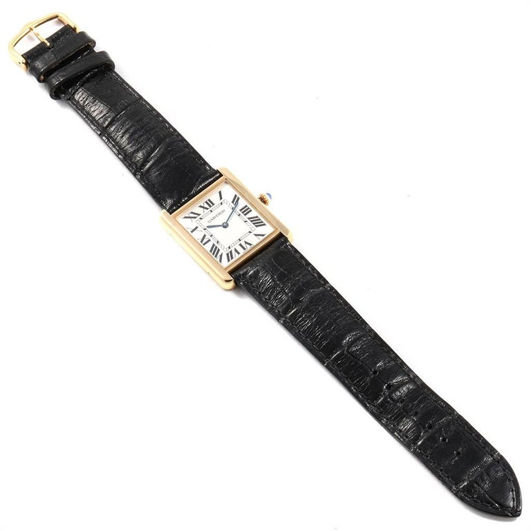 Cartier Tank Solo Yellow Gold Steel Black Strap Men's Watch W1018855 For Sale 6